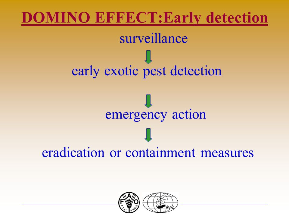 DOMINO EFFECT:Early detection surveillance early exotic pest detection emergency action eradication or containment measures