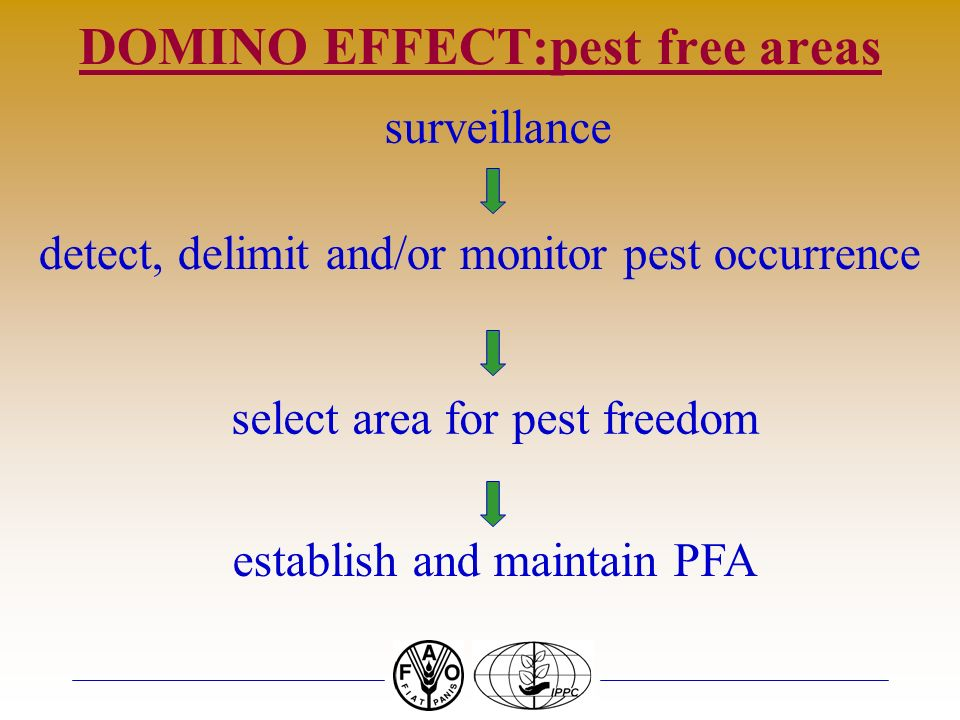 DOMINO EFFECT:pest free areas surveillance detect, delimit and/or monitor pest occurrence select area for pest freedom establish and maintain PFA