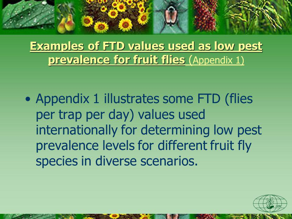 Examples of FTD values used as low pest prevalence for fruit flies Examples of FTD values used as low pest prevalence for fruit flies ( Appendix 1) Appendix 1 illustrates some FTD (flies per trap per day) values used internationally for determining low pest prevalence levels for different fruit fly species in diverse scenarios.