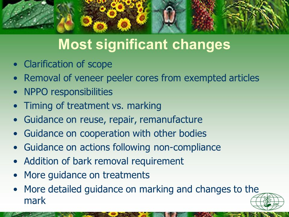 Most significant changes Clarification of scope Removal of veneer peeler cores from exempted articles NPPO responsibilities Timing of treatment vs. ma