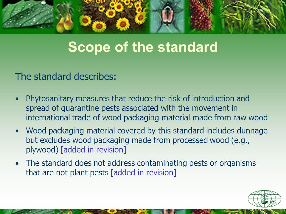 Scope of the standard The standard describes: Phytosanitary measures that reduce the risk of introduction and spread of quarantine pests associated with the movement in international trade of wood packaging material made from raw wood Wood packaging material covered by this standard includes dunnage but excludes wood packaging made from processed wood (e.g., plywood) [added in revision] The standard does not address contaminating pests or organisms that are not plant pests [added in revision]