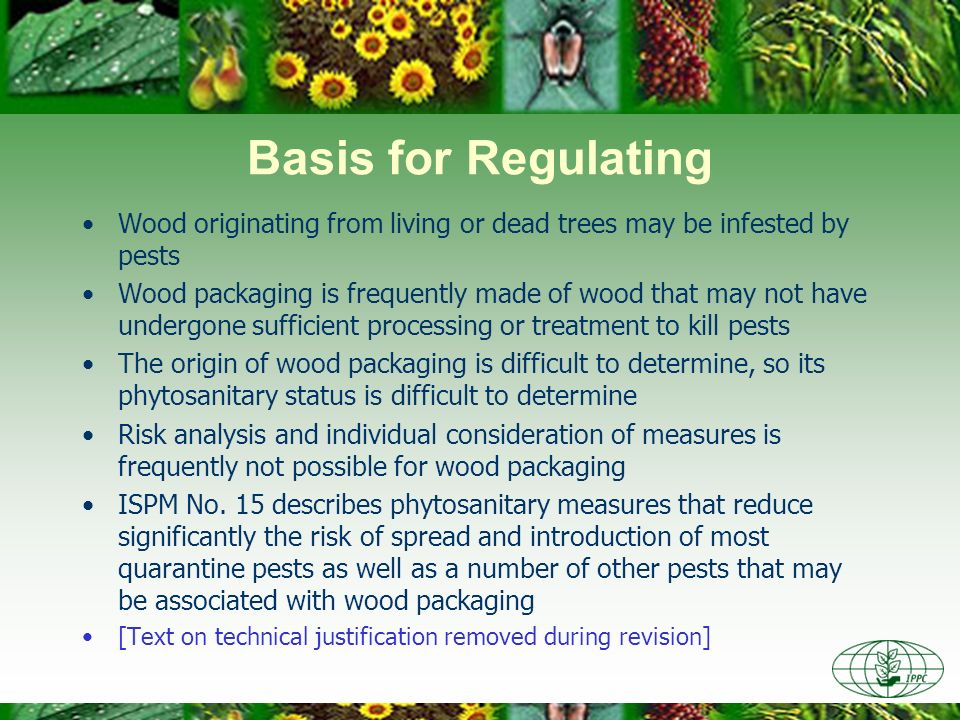 Basis for Regulating Wood originating from living or dead trees may be infested by pests Wood packaging is frequently made of wood that may not have undergone sufficient processing or treatment to kill pests The origin of wood packaging is difficult to determine, so its phytosanitary status is difficult to determine Risk analysis and individual consideration of measures is frequently not possible for wood packaging ISPM No.