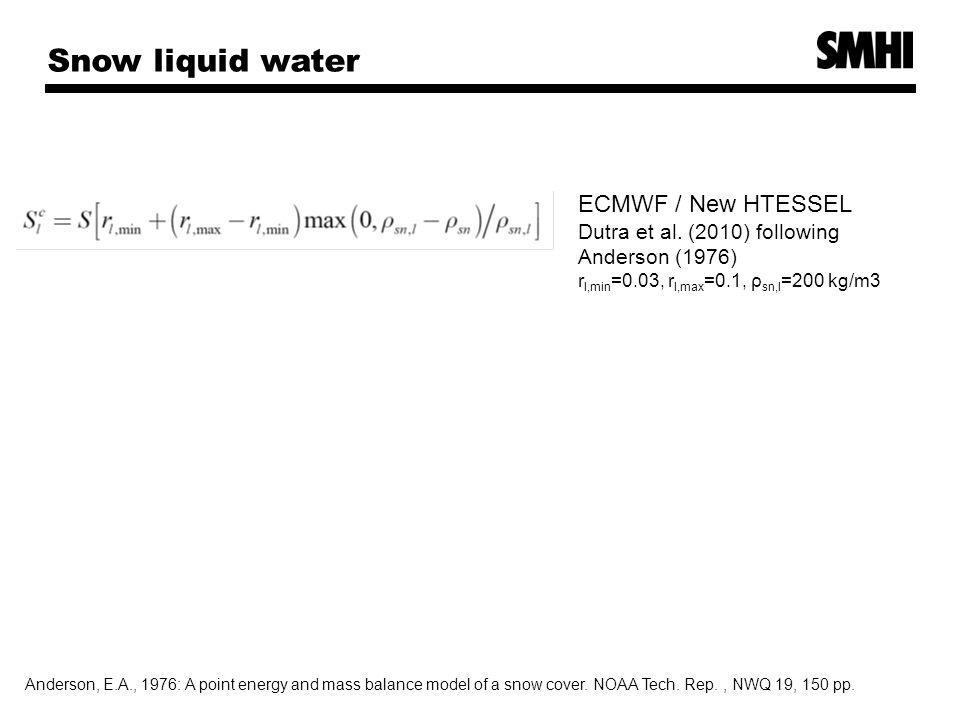 Snow liquid water ECMWF / New HTESSEL Dutra et al.