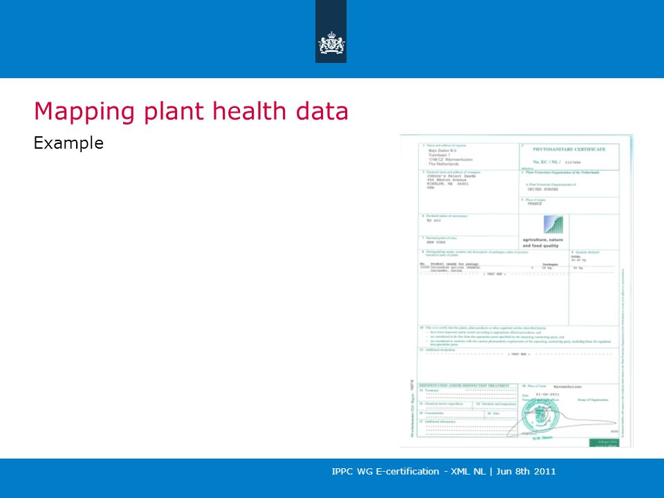 IPPC WG E-certification - XML NL | Jun 8th 2011 Mapping plant health data Example