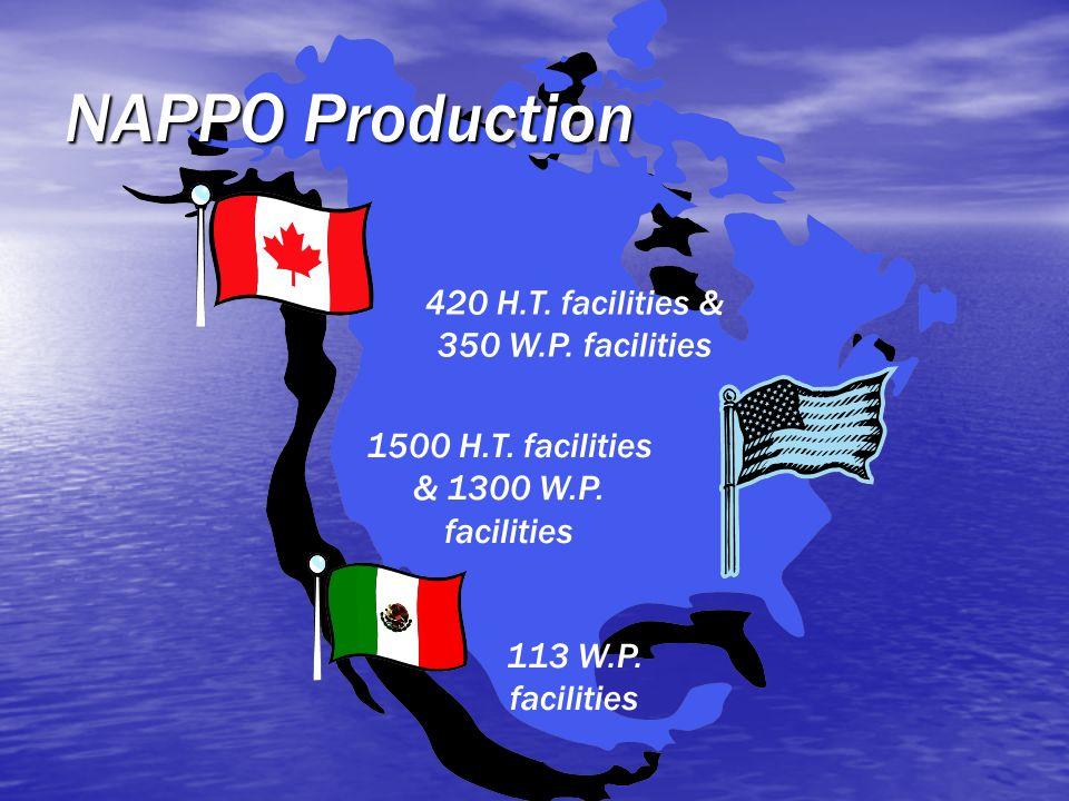 1500 H.T. facilities & 1300 W.P. facilities 420 H.T. facilities & 350 W.P. facilities 113 W.P. facilities NAPPO Production