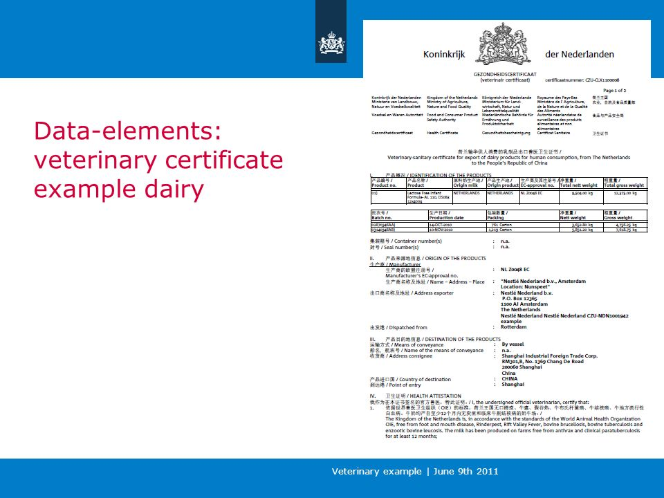 Veterinary example | June 9th 2011 Data-elements: veterinary certificate example meat of pork