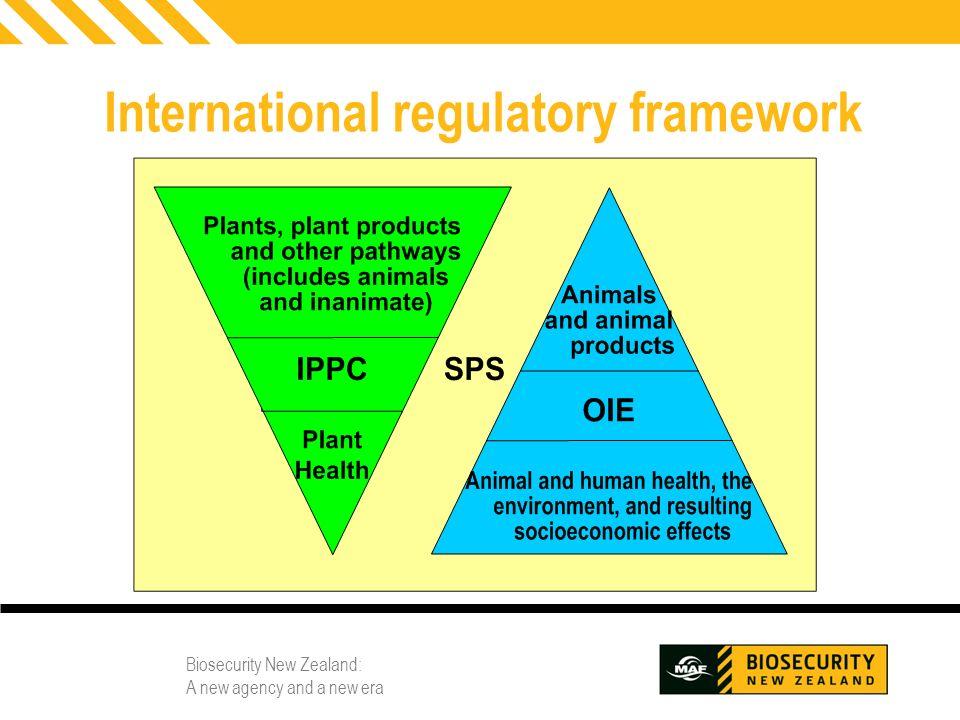 Biosecurity New Zealand: A new agency and a new era 6 International regulatory framework