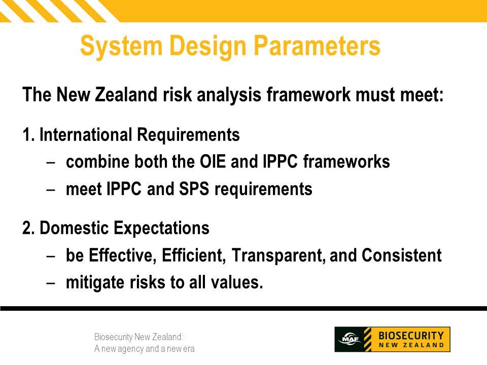 Biosecurity New Zealand: A new agency and a new era 8 System Design Parameters The New Zealand risk analysis framework must meet: 1. International Req