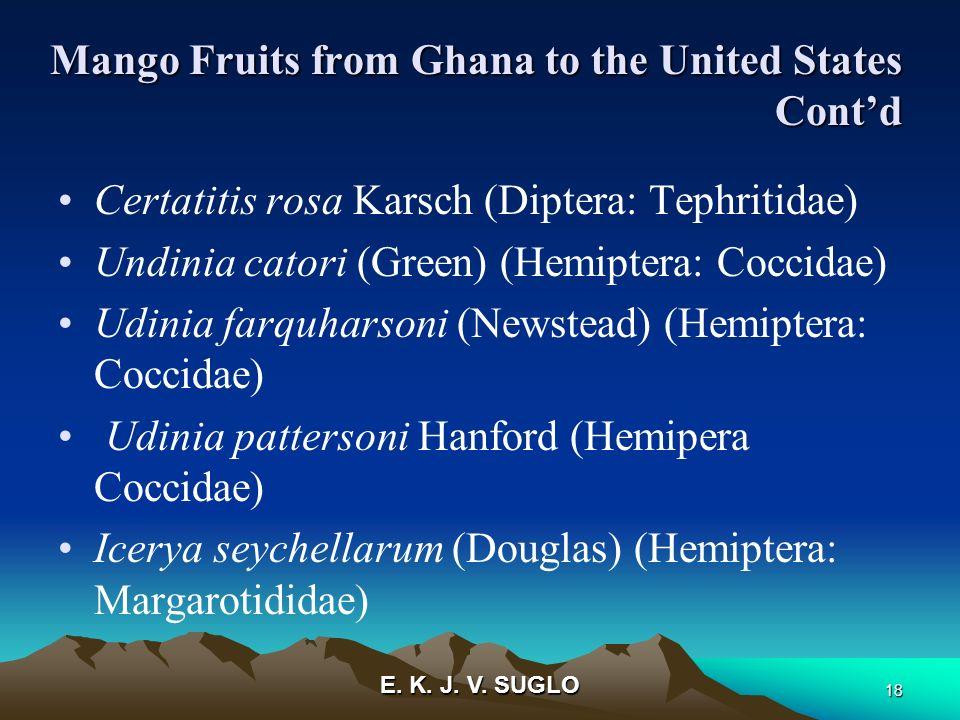 E. K. J. V. SUGLO 18 Mango Fruits from Ghana to the United States Contd Certatitis rosa Karsch (Diptera: Tephritidae) Undinia catori (Green) (Hemipter