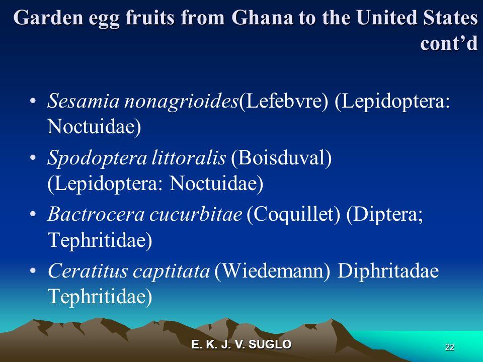 E. K. J. V. SUGLO 22 Garden egg fruits from Ghana to the United States contd Sesamia nonagrioides(Lefebvre) (Lepidoptera: Noctuidae) Spodoptera littor