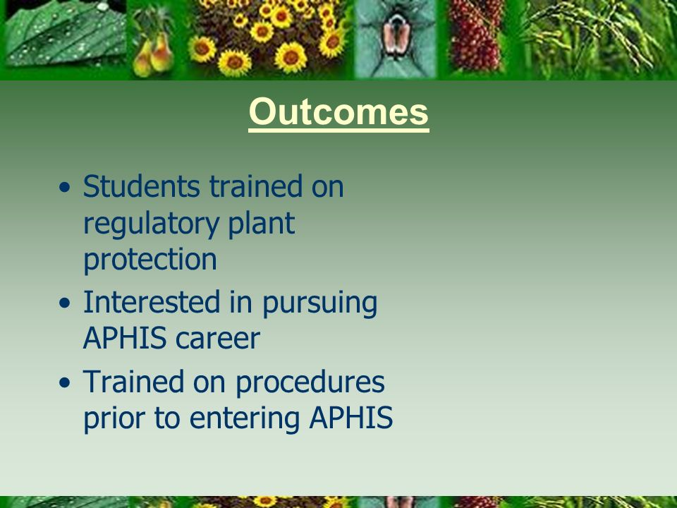 Outcomes Students trained on regulatory plant protection Interested in pursuing APHIS career Trained on procedures prior to entering APHIS
