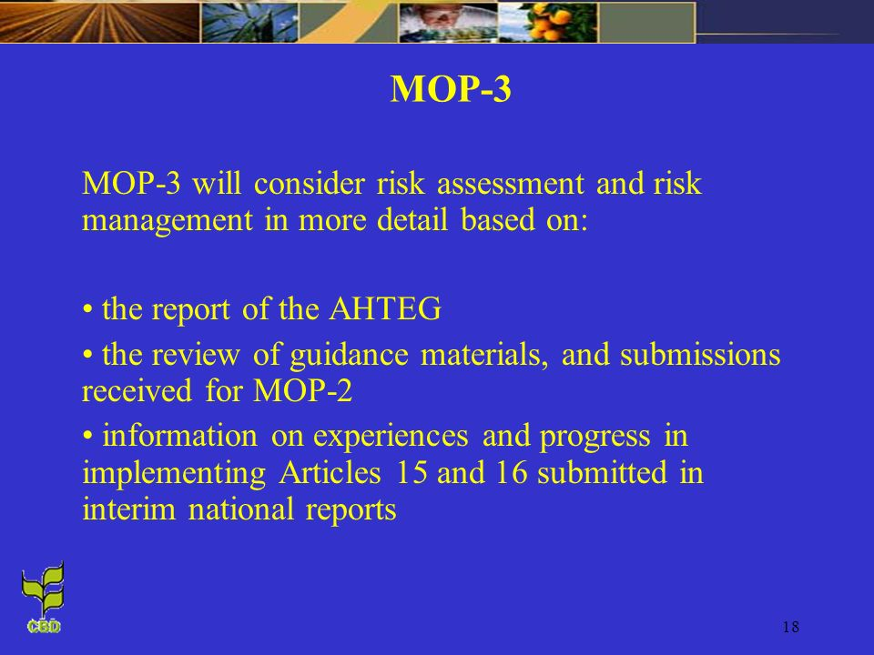18 MOP-3 MOP-3 will consider risk assessment and risk management in more detail based on: the report of the AHTEG the review of guidance materials, and submissions received for MOP-2 information on experiences and progress in implementing Articles 15 and 16 submitted in interim national reports