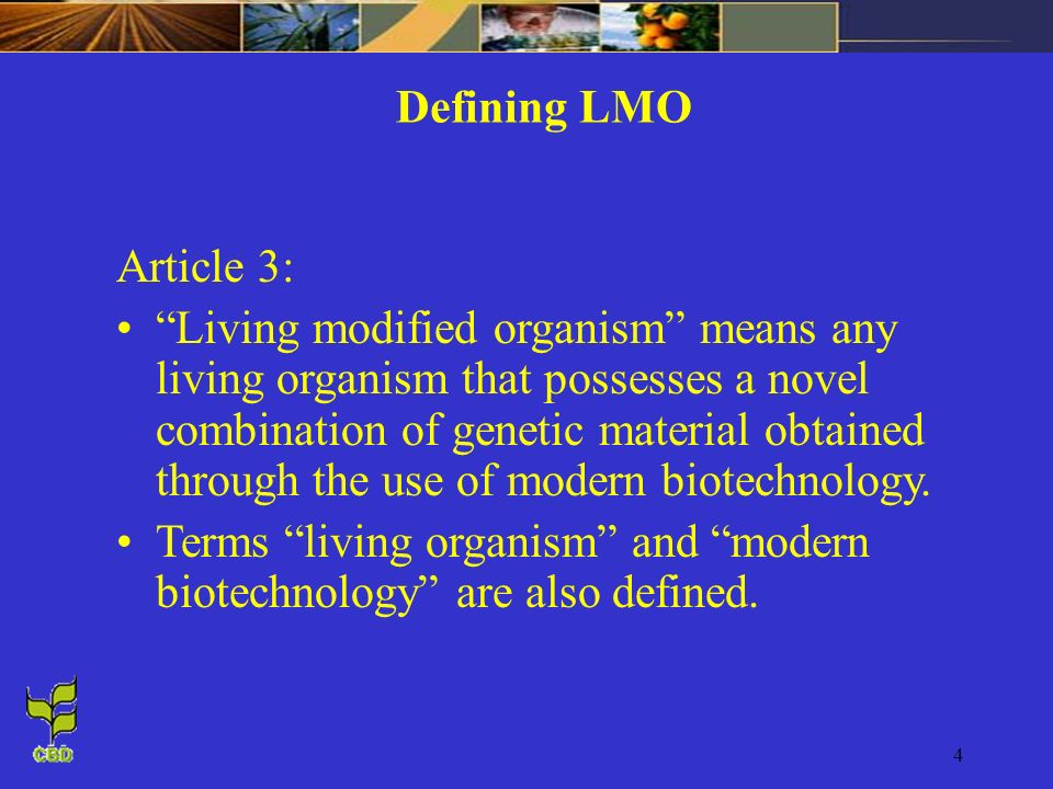 4 Article 3: Living modified organism means any living organism that possesses a novel combination of genetic material obtained through the use of modern biotechnology.