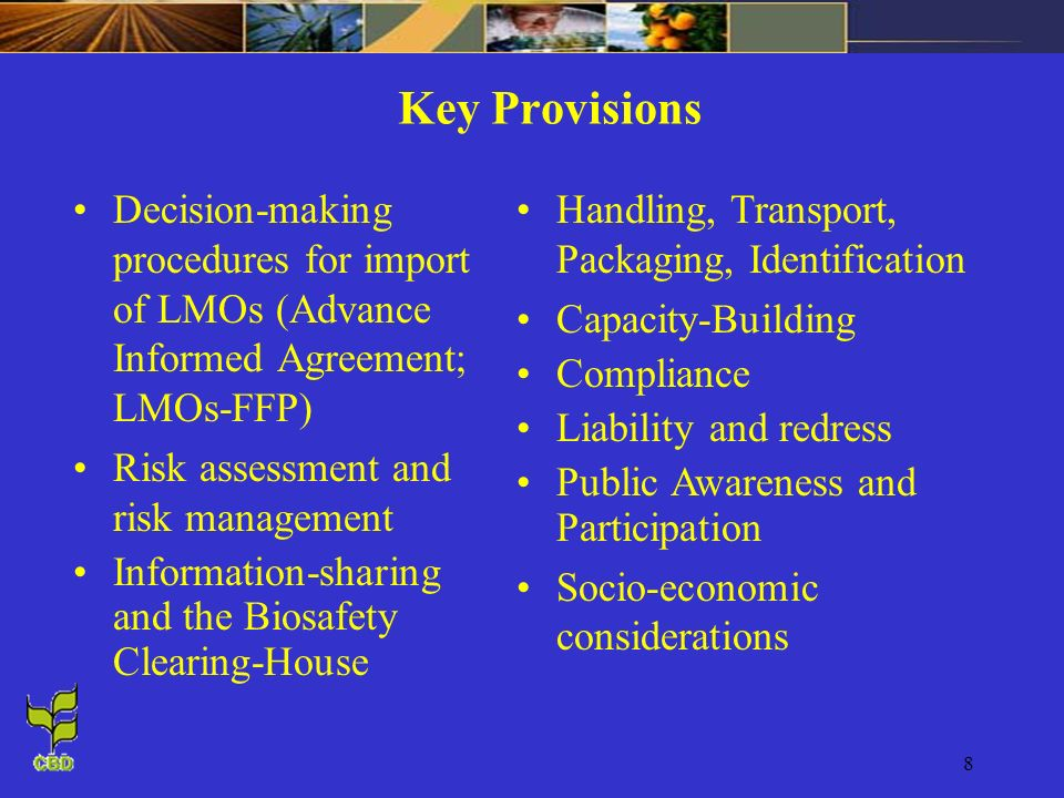 8 Key Provisions Decision-making procedures for import of LMOs (Advance Informed Agreement; LMOs-FFP) Risk assessment and risk management Information-sharing and the Biosafety Clearing-House Handling, Transport, Packaging, Identification Capacity-Building Compliance Liability and redress Public Awareness and Participation Socio-economic considerations