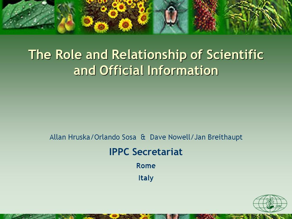 The Role and Relationship of Scientific and Official Information Allan Hruska/Orlando Sosa & Dave Nowell/Jan Breithaupt IPPC Secretariat Rome Italy
