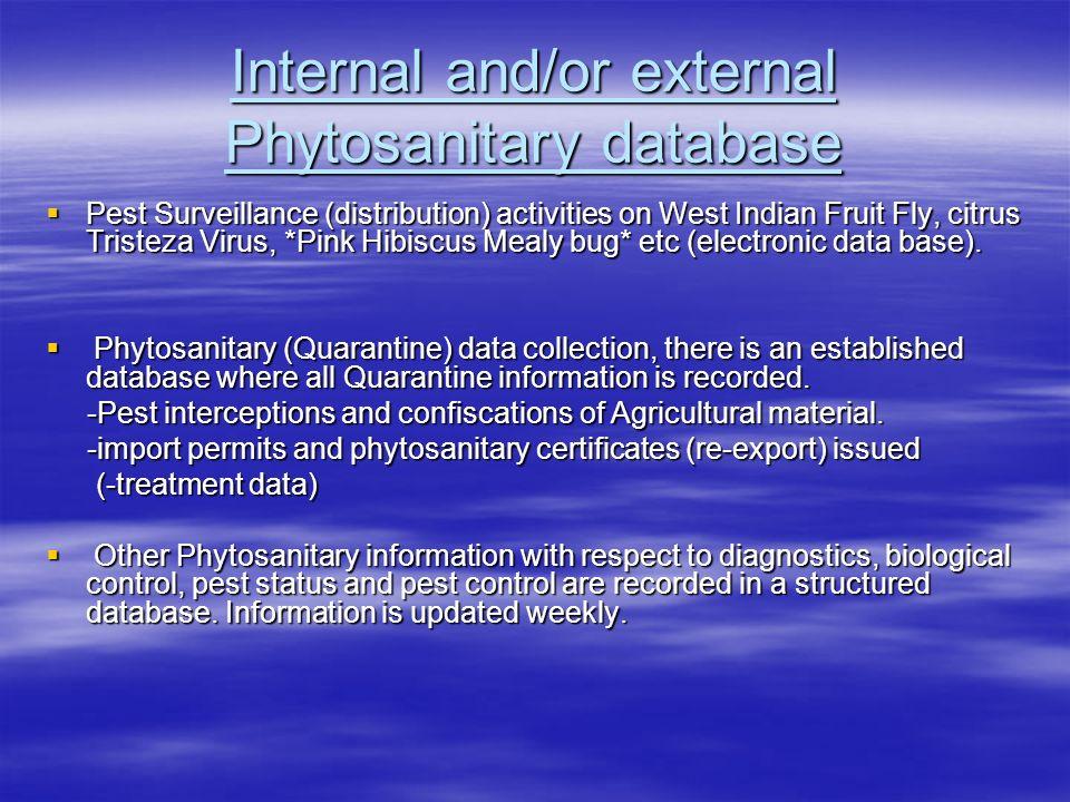 Internal and/or external Phytosanitary database Pest Surveillance (distribution) activities on West Indian Fruit Fly, citrus Tristeza Virus, *Pink Hib