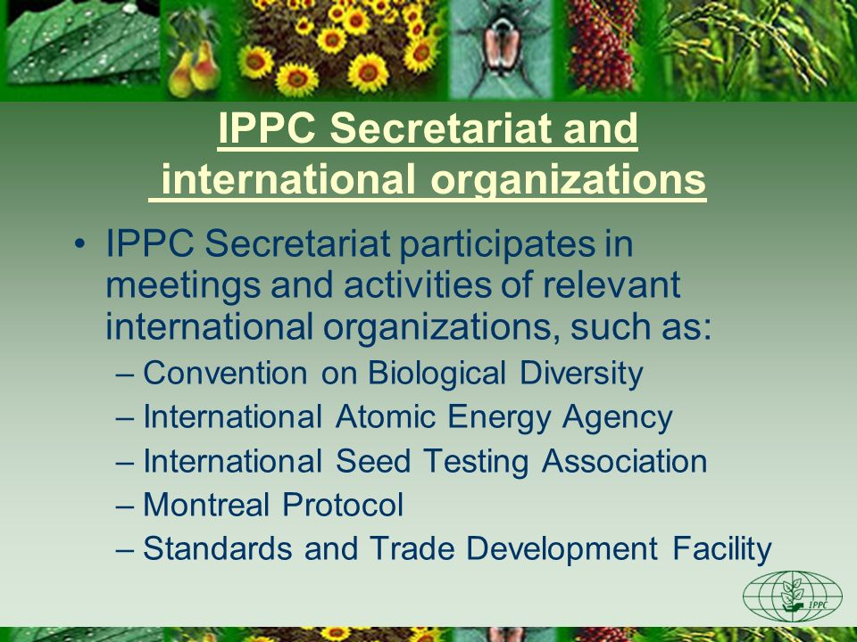IPPC Secretariat and international organizations IPPC Secretariat participates in meetings and activities of relevant international organizations, suc
