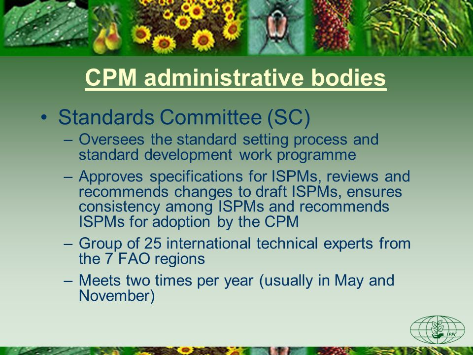CPM administrative bodies Standards Committee (SC) –Oversees the standard setting process and standard development work programme –Approves specificat