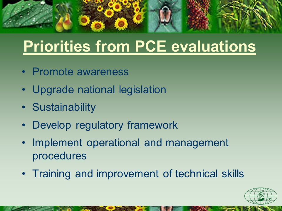 Priorities from PCE evaluations Promote awareness Upgrade national legislation Sustainability Develop regulatory framework Implement operational and m