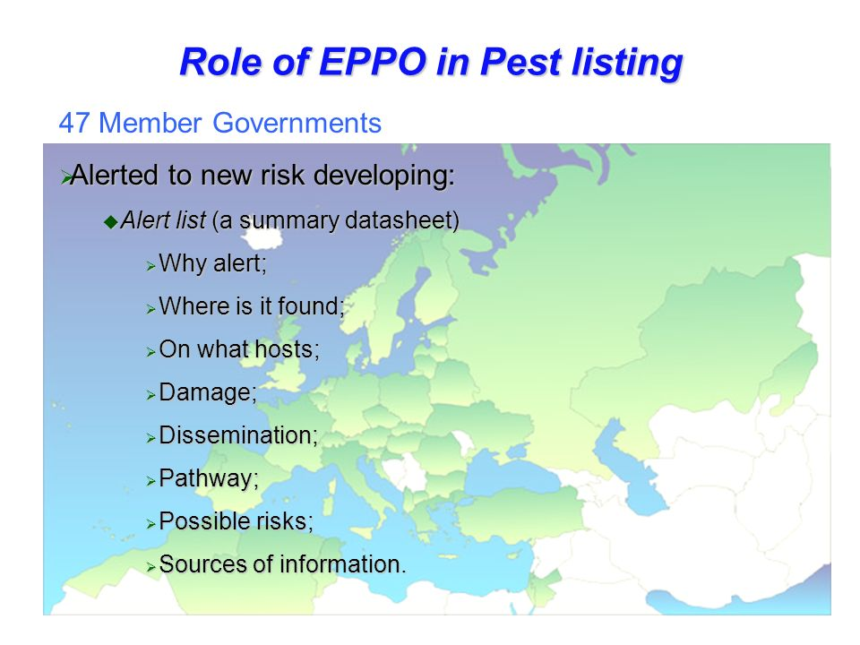 Role of EPPO in Pest listing 47 Member Governments Alerted to new risk developing: Alerted to new risk developing: Alert list (a summary datasheet) Alert list (a summary datasheet) Why alert; Why alert; Where is it found; Where is it found; On what hosts; On what hosts; Damage; Damage; Dissemination; Dissemination; Pathway; Pathway; Possible risks; Possible risks; Sources of information.