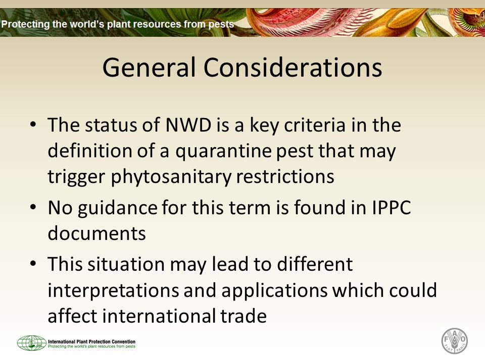 General Considerations The status of NWD is a key criteria in the definition of a quarantine pest that may trigger phytosanitary restrictions No guidance for this term is found in IPPC documents This situation may lead to different interpretations and applications which could affect international trade