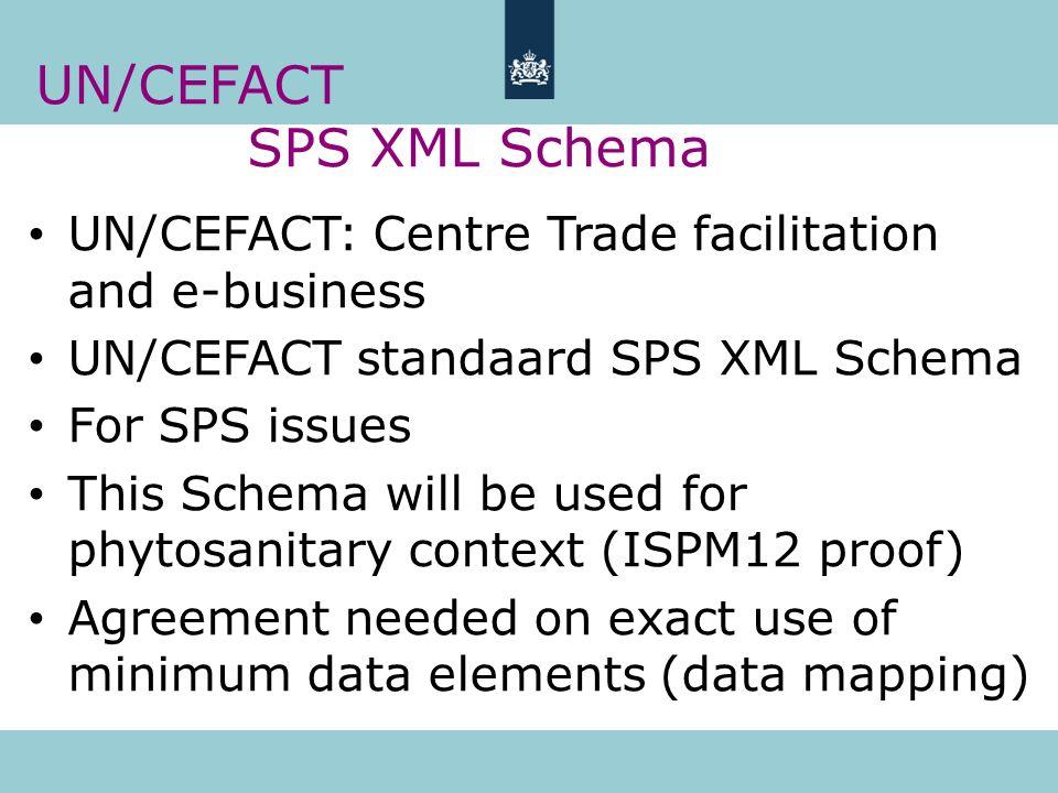UN/CEFACT SPS XML Schema UN/CEFACT: Centre Trade facilitation and e-business UN/CEFACT standaard SPS XML Schema For SPS issues This Schema will be use