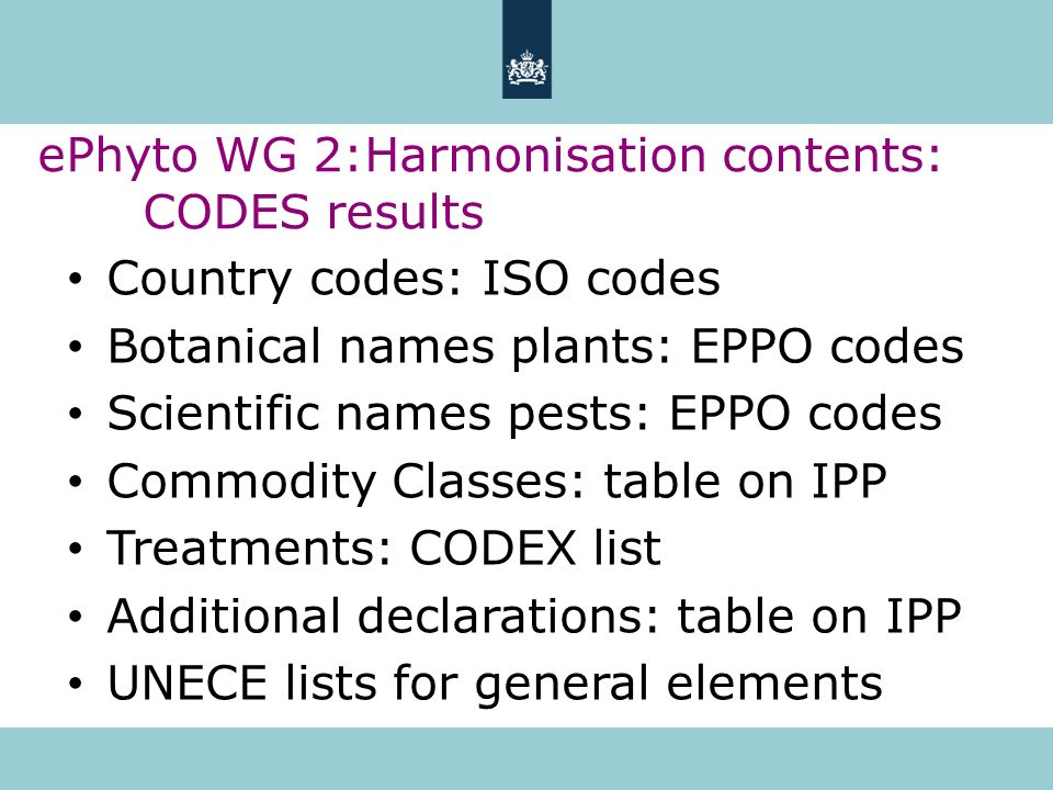 Country codes: ISO codes Botanical names plants: EPPO codes Scientific names pests: EPPO codes Commodity Classes: table on IPP Treatments: CODEX list