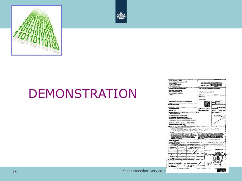 DEMONSTRATION 34 Plant Protection Service, Min EL&I, Electronic certification