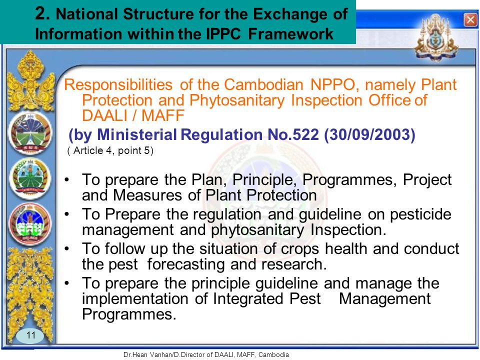 Dr.Hean Vanhan/D.Director of DAALI, MAFF, Cambodia 11 2. National Structure for the Exchange of Information within the IPPC Framework Responsibilities