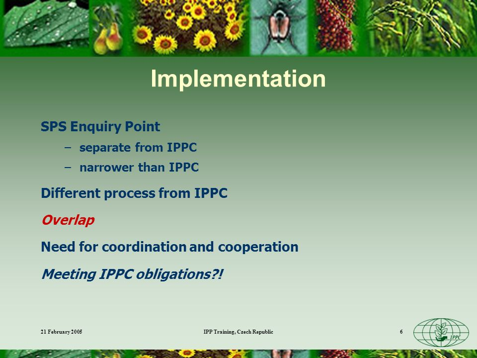 21 February 2005IPP Training, Czech Republic6 Implementation SPS Enquiry Point –separate from IPPC –narrower than IPPC Different process from IPPC Overlap Need for coordination and cooperation Meeting IPPC obligations !