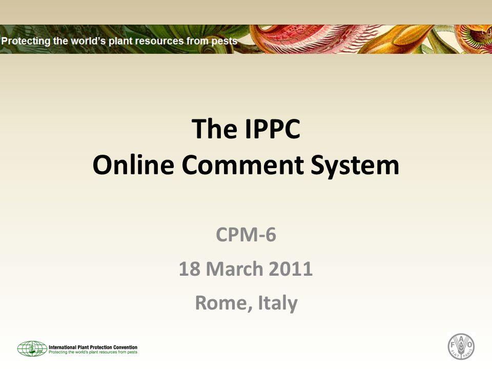 The IPPC Online Comment System CPM-6 18 March 2011 Rome, Italy