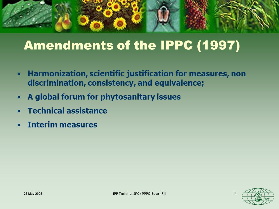 23 May 2005IPP Training, SPC / PPPO Suva - Fiji 14 Harmonization, scientific justification for measures, non discrimination, consistency, and equivalence; A global forum for phytosanitary issues Technical assistance Interim measures Amendments of the IPPC (1997)