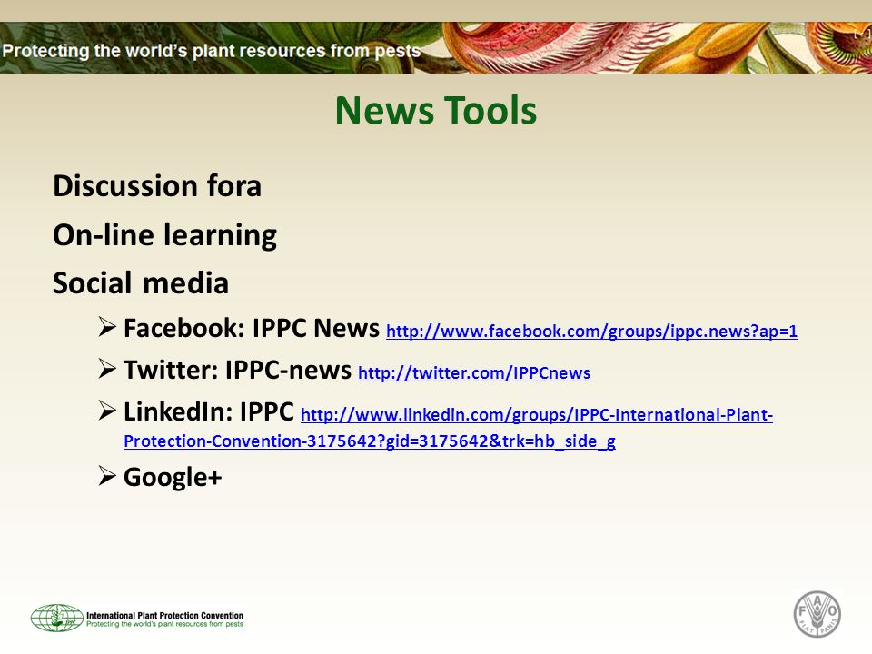 News Tools Discussion fora On-line learning Social media Facebook: IPPC News http://www.facebook.com/groups/ippc.news?ap=1 http://www.facebook.com/groups/ippc.news?ap=1 Twitter: IPPC-news http://twitter.com/IPPCnews http://twitter.com/IPPCnews LinkedIn: IPPC http://www.linkedin.com/groups/IPPC-International-Plant- Protection-Convention-3175642?gid=3175642&trk=hb_side_g http://www.linkedin.com/groups/IPPC-International-Plant- Protection-Convention-3175642?gid=3175642&trk=hb_side_g Google+