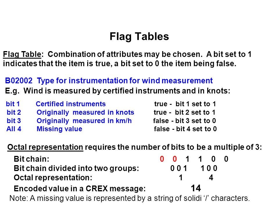 Flag Tables Flag Table: Combination of attributes may be chosen.