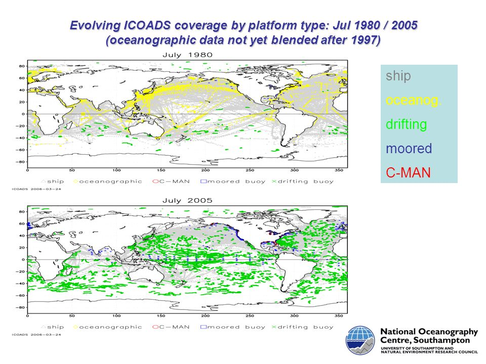 Evolving ICOADS coverage by platform type: Jul 1980 / 2005 (oceanographic data not yet blended after 1997) ship oceanog.