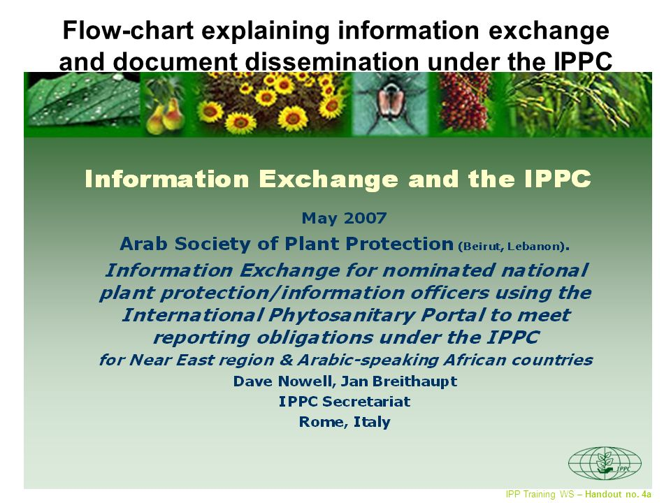 IPPC Secretariat A B Modes of communication (Fax, mail, e- mail, IPP) National Government IPPC Contact Point Organization IPPC Contact Point Convention NPPO IPP = Preferred tool for Information Exchange - IPPC publications, incl.