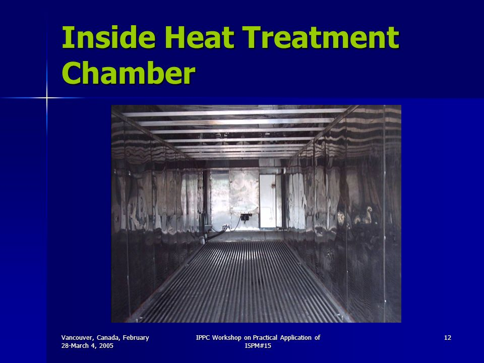 Vancouver, Canada, February 28-March 4, 2005 IPPC Workshop on Practical Application of ISPM#15 12 Inside Heat Treatment Chamber