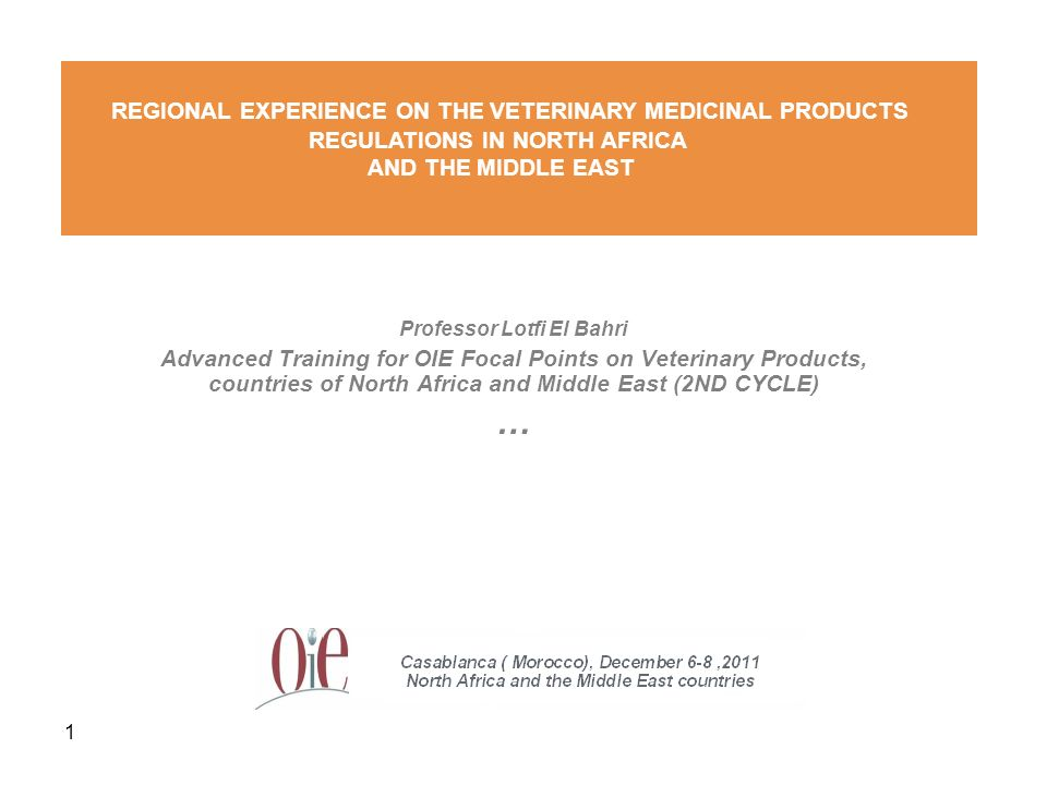 1 Professor Lotfi El Bahri Advanced Training for OIE Focal Points on Veterinary Products, countries of North Africa and Middle East (2ND CYCLE) … REGI