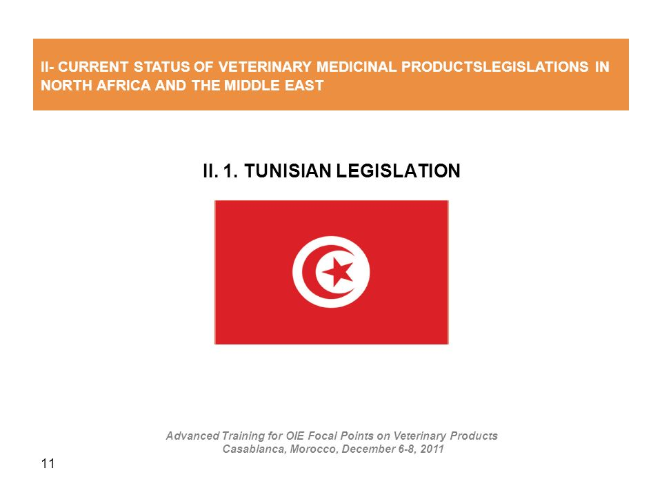 11 II. 1. TUNISIAN LEGISLATION II- CURRENT STATUS OF VETERINARY MEDICINAL PRODUCTSLEGISLATIONS IN NORTH AFRICA AND THE MIDDLE EAST Advanced Training f