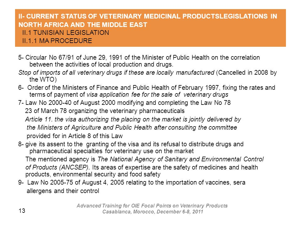 13 5- Circular No 67/91 of June 29, 1991 of the Minister of Public Health on the correlation between the activities of local production and drugs. Sto
