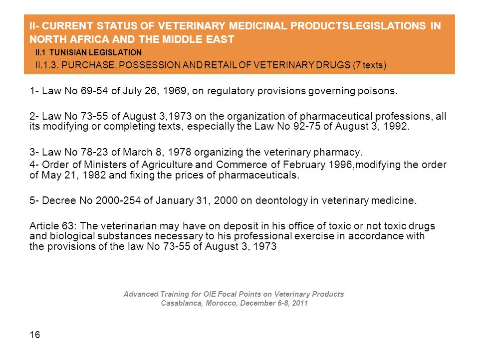16 1- Law No 69-54 of July 26, 1969, on regulatory provisions governing poisons. 2- Law No 73-55 of August 3,1973 on the organization of pharmaceutica
