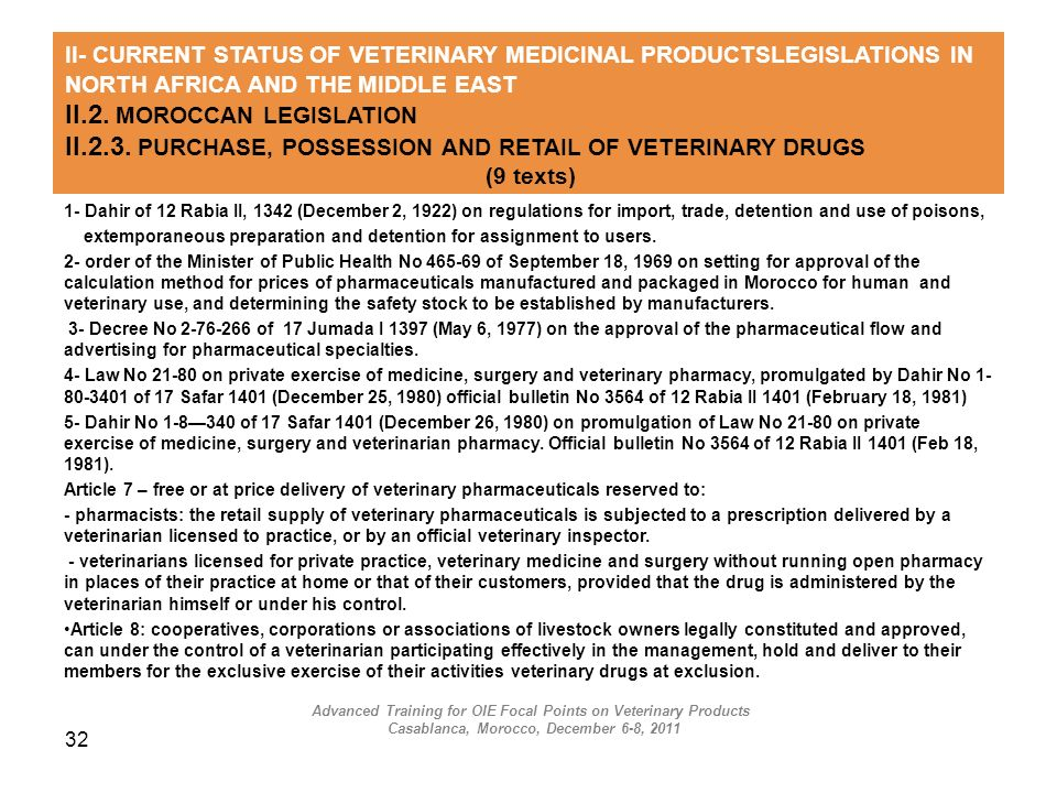 32 II- CURRENT STATUS OF VETERINARY MEDICINAL PRODUCTSLEGISLATIONS IN NORTH AFRICA AND THE MIDDLE EAST II.2. MOROCCAN LEGISLATION II.2.3. PURCHASE, PO