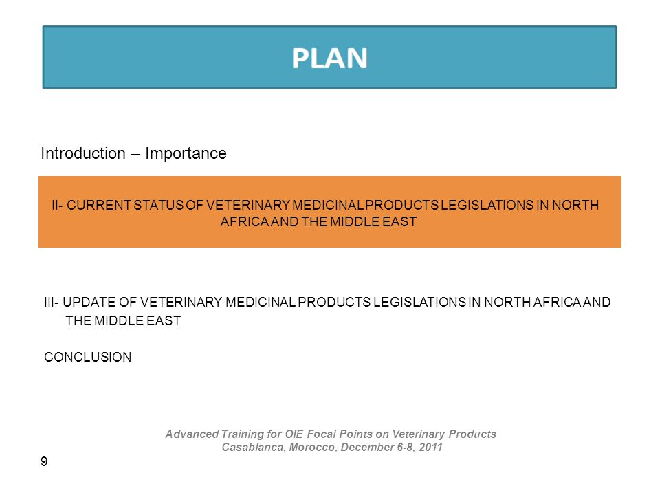 9 Introduction – Importance I – VETERINARY MEDICINAL PRODUCTS MARKET IN NORTH AFRICA II- CURRENT STATUS OF VETERINARY MEDICINAL PRODUCTS LEGISLATIONS