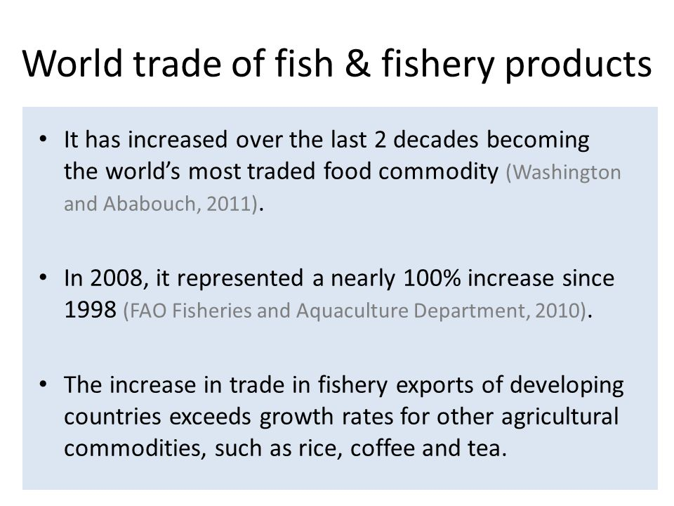 Take home messages Tremendous increase of trade in aquatic products This trade represents a different level of risk Two main situations – products for any purpose – products intended for human consumption Specific assumptions prevail to risk assessment The commodity based approach does not overrule the Code; it is not a carte blanche Limitations of RA at global level call for national initiatives: approach to be implemented