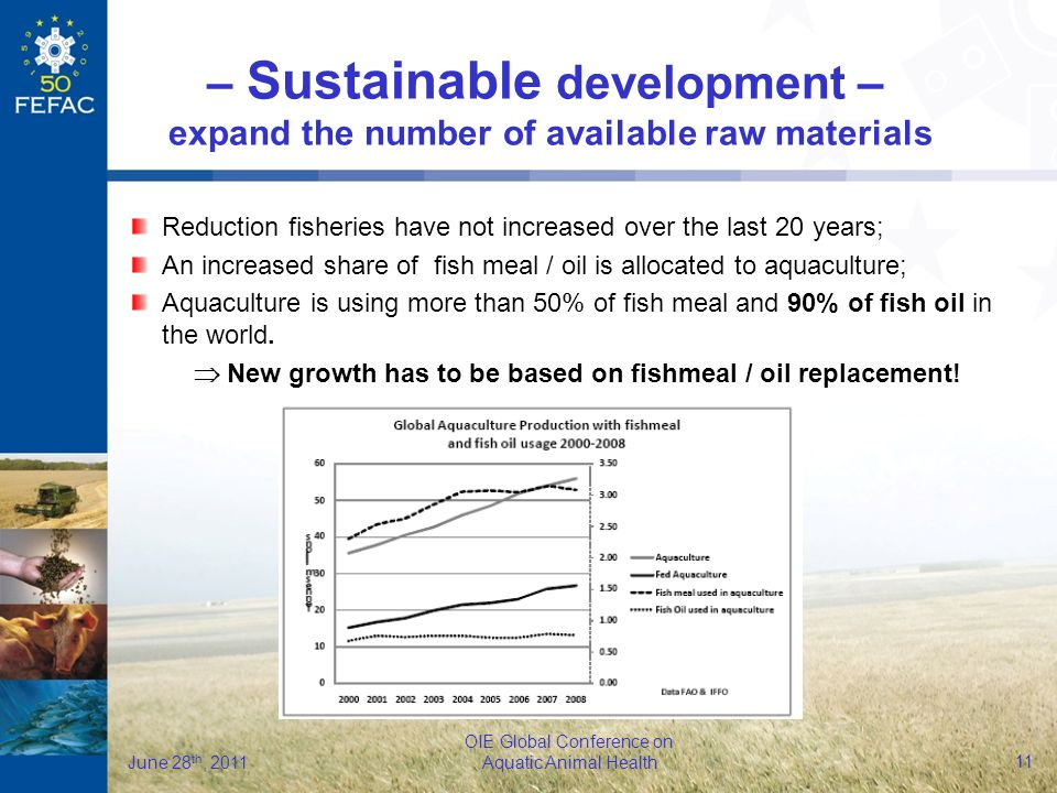 12 OIE Global Conference on Aquatic Animal Health June 28 th, 2011 Potential new raw material sources: Plant protein concentrates LABPs and PAPs GM derived-plant proteins Algae – Sustainable development – expand the number of available raw materials