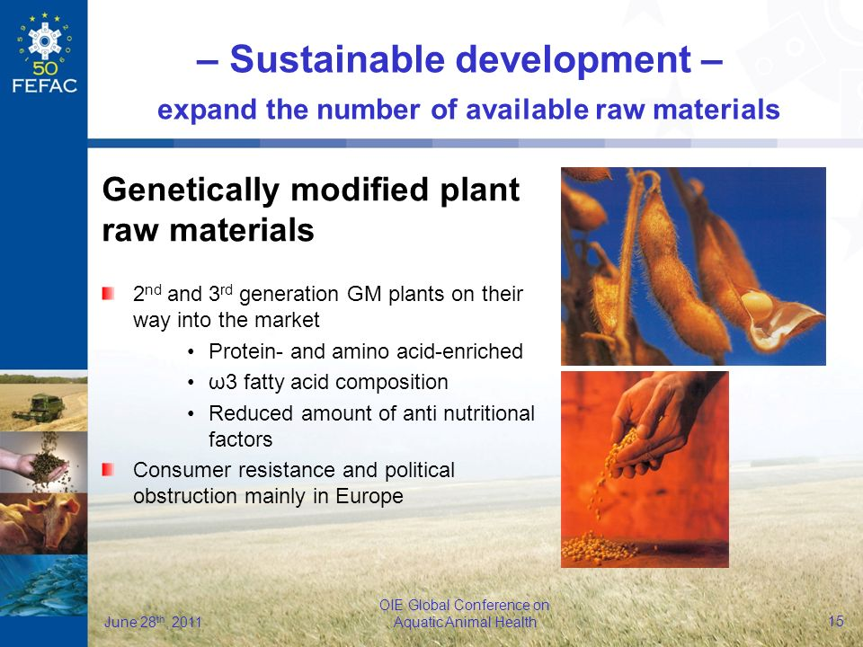 16 OIE Global Conference on Aquatic Animal Health June 28 th, 2011 Algae – Sustainable development – expand the number of available raw materials The actual source of DHA in the marine food web Sustainable Traceable Contaminants-free Consistent product quality Predictable pricing