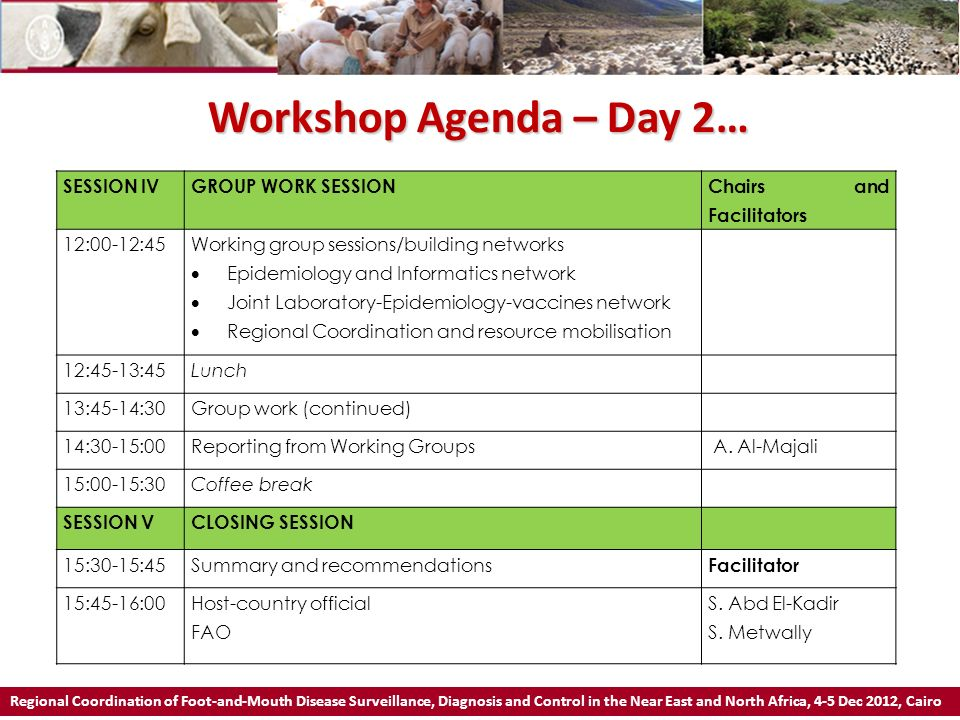 Workshop Agenda – Day 2… Regional Coordination of Foot-and-Mouth Disease Surveillance, Diagnosis and Control in the Near East and North Africa, 4-5 De