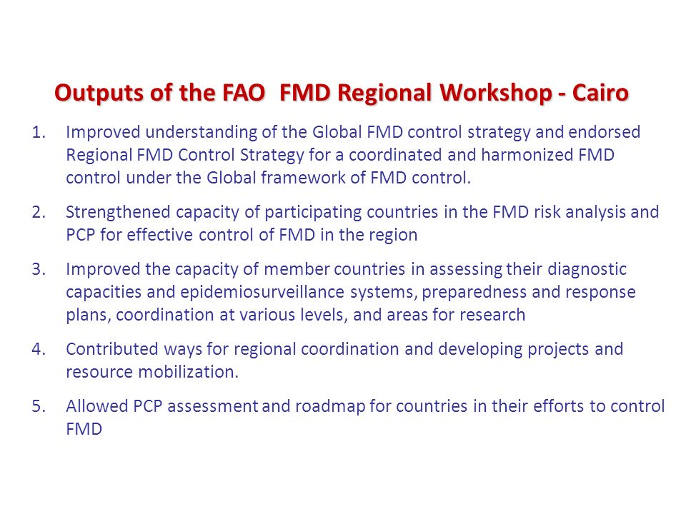 1.Improved understanding of the Global FMD control strategy and endorsed Regional FMD Control Strategy for a coordinated and harmonized FMD control un