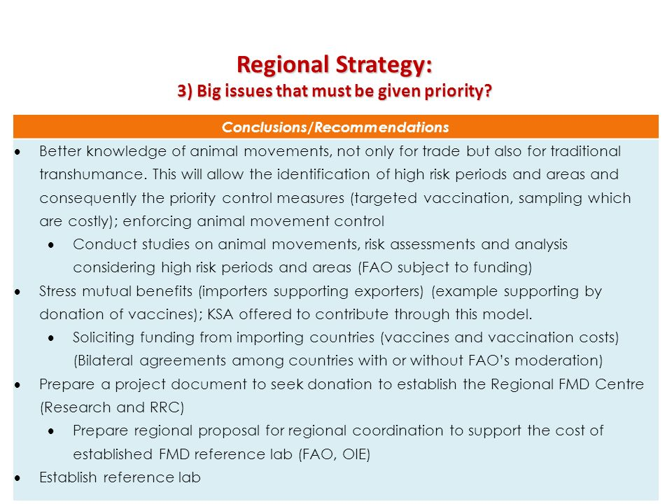 Regional Strategy: 3) Big issues that must be given priority? Conclusions/Recommendations Better knowledge of animal movements, not only for trade but