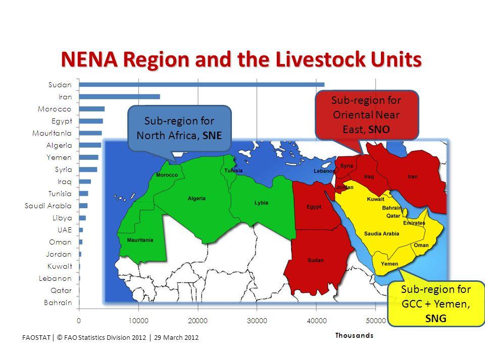 NENA Region and the Livestock Units FAOSTAT | © FAO Statistics Division 2012 | 29 March 2012 Sub-region for North Africa, SNE Sub-region for Oriental